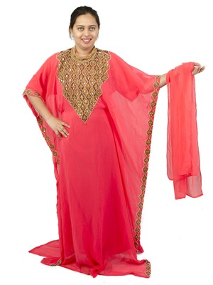 Light-pink embroidered georgette islamic-kaftans