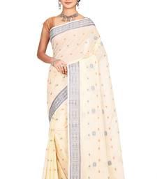 Off white plain cotton saree without blouse