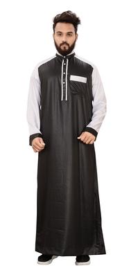 Black plain polyester mens galabiyya thobe