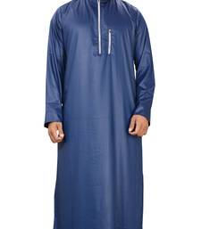 Blue Plain Polyester Mens Galabiyya Thobe