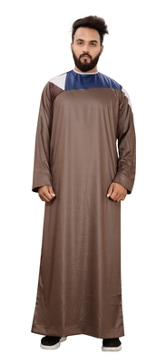 Brown Plain Polyester Mens Galabiyya Thobe