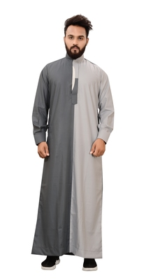 Grey plain cotton mens galabiyya thobe