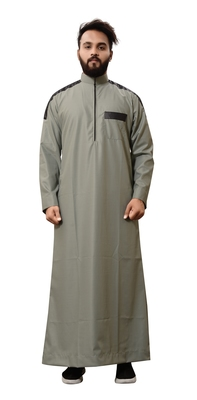 Green Plain Cotton Mens Galabiyya Thobe