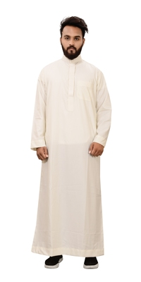 White plain cotton mens galabiyya thobe