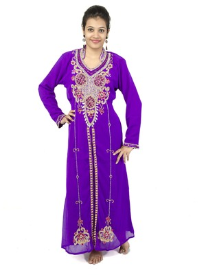 Purple embroidered georgette islamic kaftan