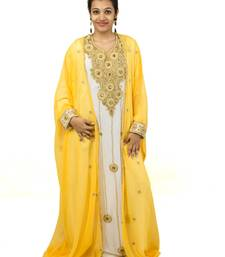 Yellow Off White embroidered georgette islamic kaftan