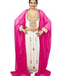 Pink and Off White embroidered georgette islamic kaftan