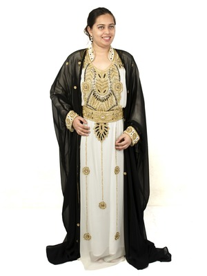Black and Off White embroidered georgette islamic kaftan