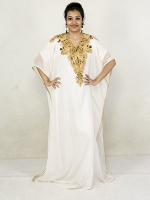 Off White embroidered georgette islamic kaftan