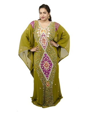 Green embroidered georgette islamic kaftan