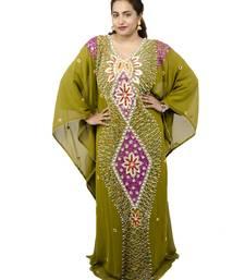 Green embroidered georgette islamic kaftan