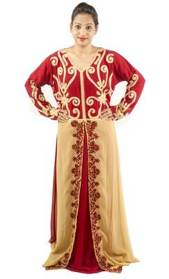 Multicolor embroidered georgette islamic kaftan