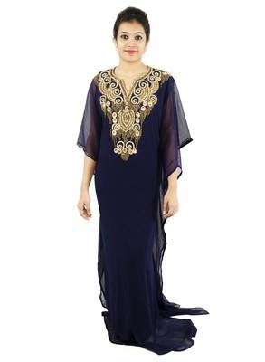 Navy-blue embroidered georgette islamic kaftan