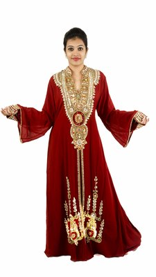 Maroon embroidered georgette islamic kaftan