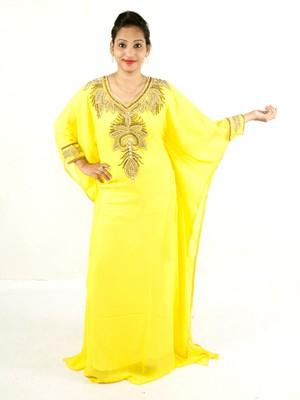 Yellow embroidered georgette islamic kaftan