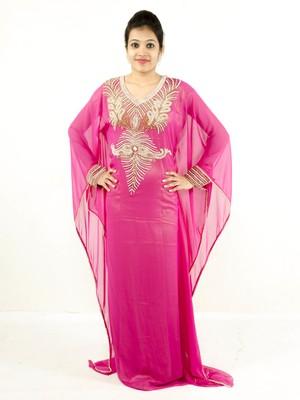 Pink embroidered georgette islamic kaftan