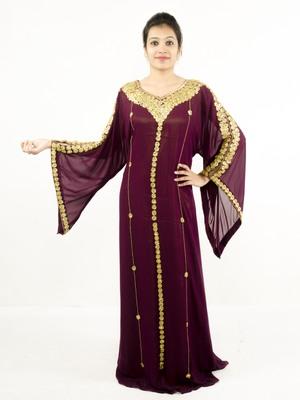 Magenta embroidered georgette islamic kaftan
