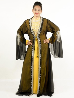 Multicolor embroidered georgette islamic kaftan
