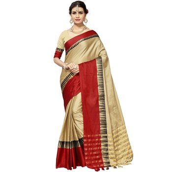 Chiku woven cotton silk saree with blouse
