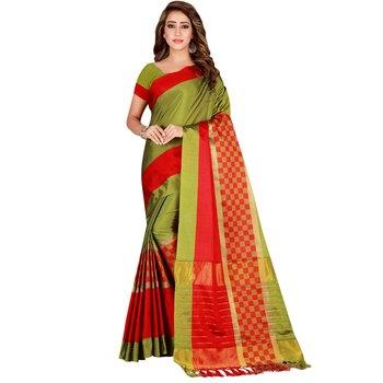 Mehendi woven cotton silk saree with blouse