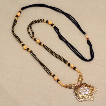 White American Diamond Traditional Mangalsutra