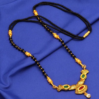 Maroon American Diamond Traditional Mangalsutra