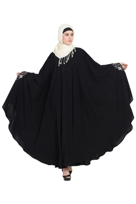Black Embroidered Crepe Abaya