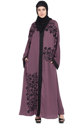 Purple Embroidered Nida Abaya