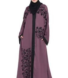 Purple Embroidered Nida Abaya
