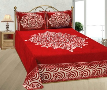 FRIMERR Soft Touch Chenille Fabric Heavy Double bed sheet with two pillow covers