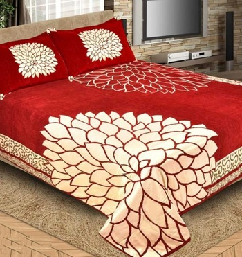 Chenille jacquard weaves Designer King Size 1 Bed Cover with 2 Pillow Covers by FRIMERR