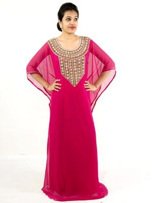 Dark rani pink embroidered georgette islamic kaftan