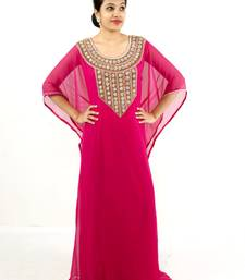 Dark rani pink embroidered georgette islamic kaftan