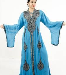 Teal blue embroidered georgette islamic kaftan