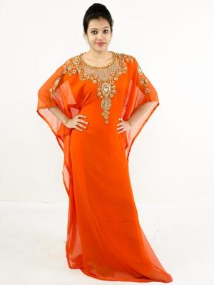 Orange embroidered georgette islamic kaftan
