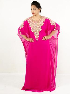 Rani pink embroidered georgette islamic kaftan