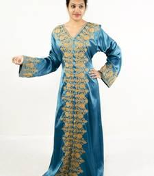 Teal blue embroidered satin islamic kaftan