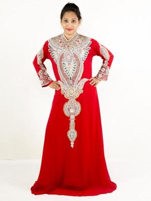 Red embroidered georgette islamic kaftan