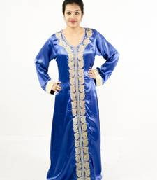 Blue embroidered satin islamic kaftan