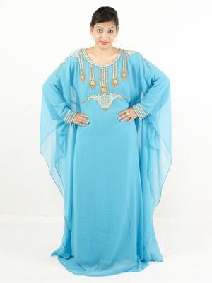 Aqua blue embroidered georgette islamic kaftan