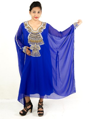 Royal blue embroidered georgette islamic kaftan