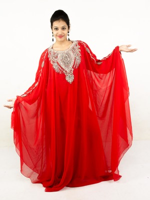 Blood red embroidered georgette islamic kaftan