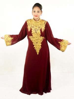 Brown embroidered georgette islamic kaftan