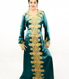 Teal embroidered georgette islamic kaftan