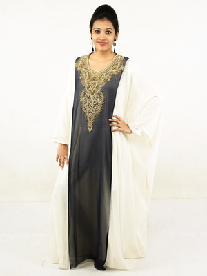 Grey embroidered georgette islamic kaftan
