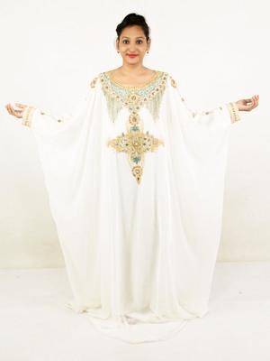 Off white embroidered georgette islamic kaftan