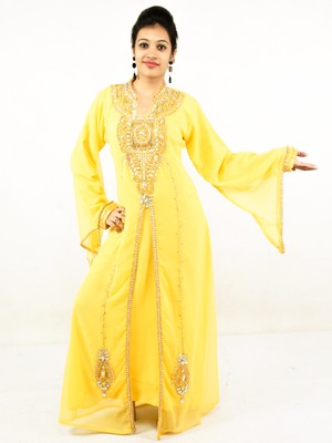 Yellow embroidered georgette islamic kaftan
