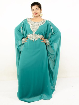 Teal green embroidered georgette islamic kaftan