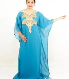 Teal blue embroidered georgette islamic kaftan