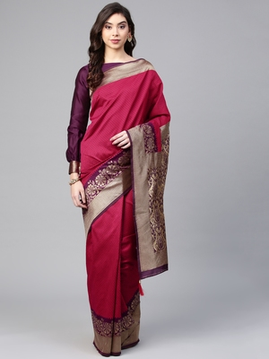 Inddus Magenta Pink Silk Blend Woven Saree With Blouse